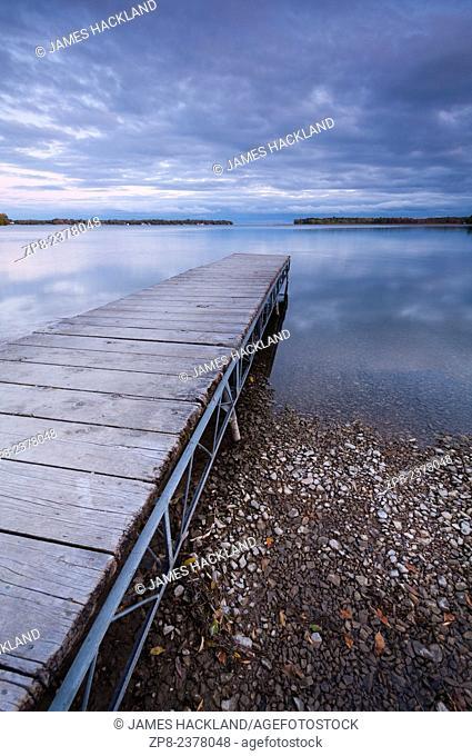 A public dock leading out into Lake Simcoe in Orillia, Ontario, Canada