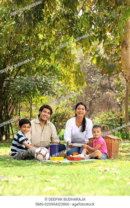 Family picnic in park