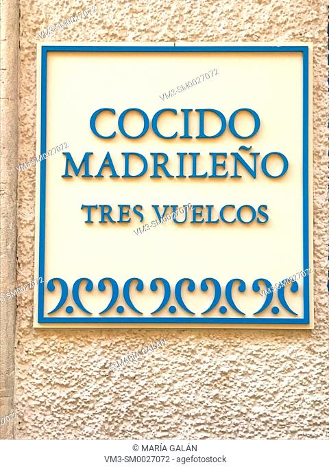 Cocido madrileño. Madrid, Spain