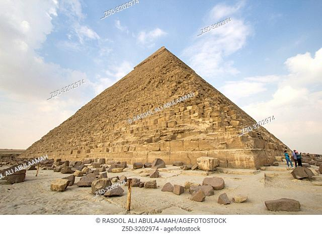 Cairo, Egypt – November 12, 2018: photo for Pyramid of Khufu in the Pyramids of Giza in Cairo city capital of Egypt