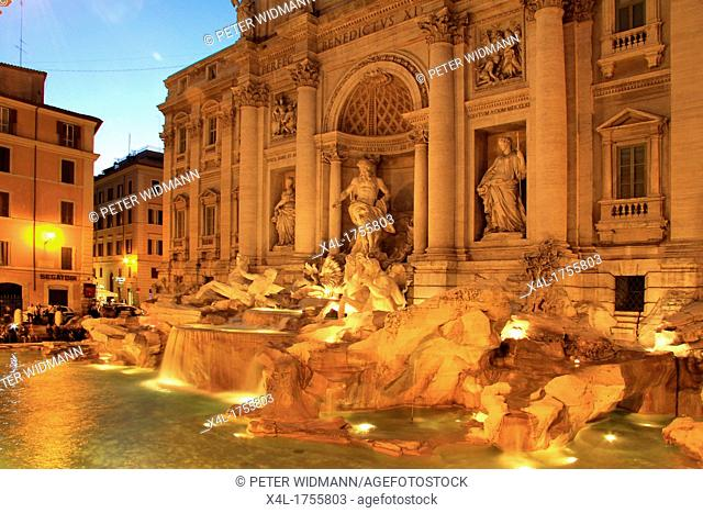 Italy, Rome, Trevi Fountain at night