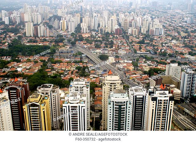 Aerial view of neighbourhood in São Paulo (Brazil), the third most populated city in the world