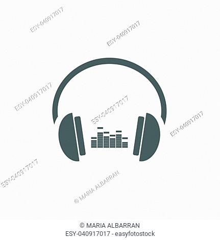 Headphones with music icon on white background