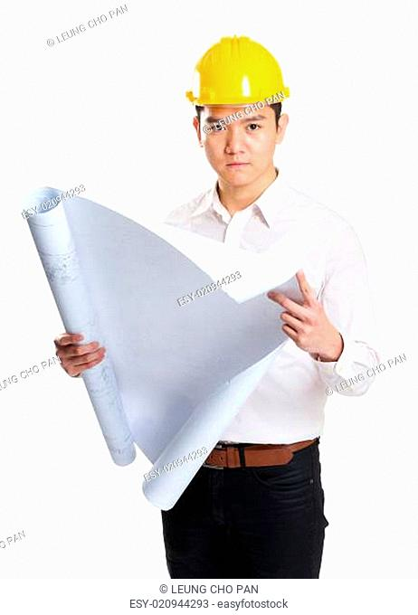 Construction worker holding with blue print