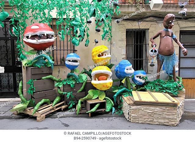 Gracia neighborhood festival in August. Festa Major de Gràcia. Barcelona. Catalonia. Spain