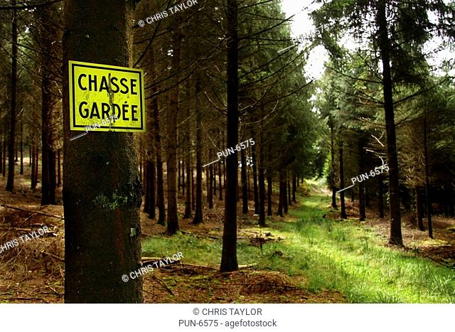 A chasse gardee sign private hunting nailed to a tree in pine woodland in Limousin