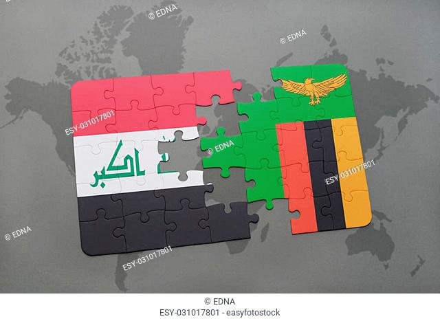 puzzle with the national flag of iraq and zambia on a world map background. 3D illustration