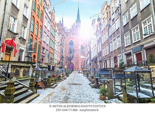 Mariacka street in Gdansk at sunrise, no people, Poland