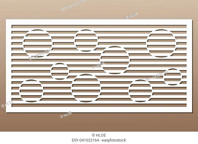 Decorative card for cutting. Circle line pattern. Laser cut. Ratio 1:2. Vector illustration