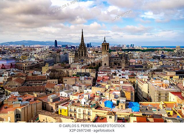 Panoramic of Barcelona (with the Cathedral) from the tower of Santa Maria del Pi church, Catalonia, Spain