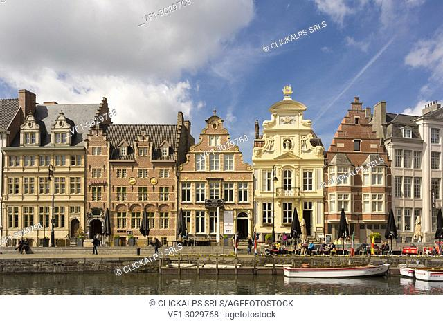 Buildings along the Leie river in the city of Ghent, east flanders province, flemish region, Belgium