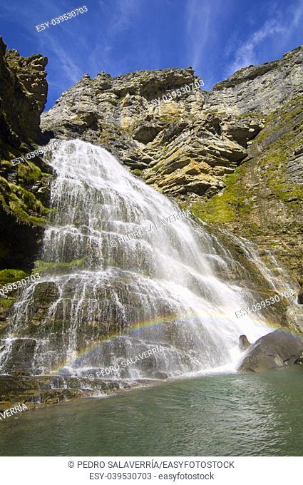 Rainbow in Cola de Caballo waterfall, Ordesa National Park, Pyrenees, Huesca, Aragon, Spain