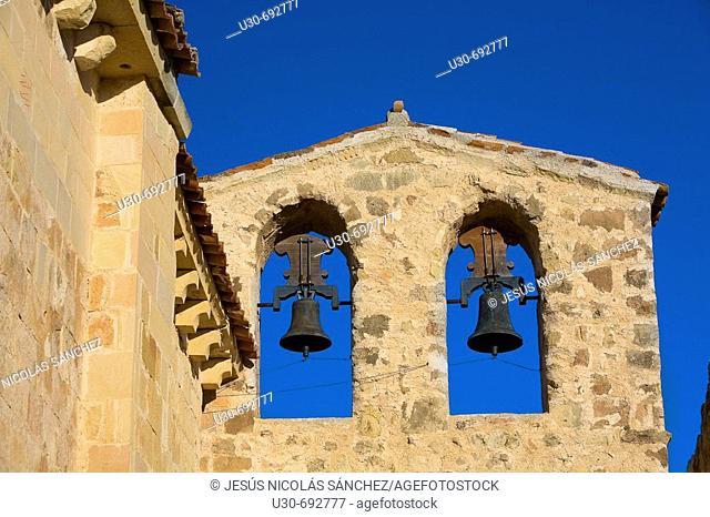 Architectural detail, Romanesque chapel of San Frutos in Hoces del Duratón Natural Park. Segovia province, Castilla-Leon, Spain
