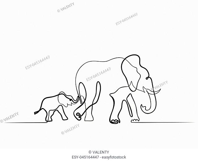 Continuous different wide line drawing. Elephant mom with baby walking symbol. Logo of the elephant. Vector illustration