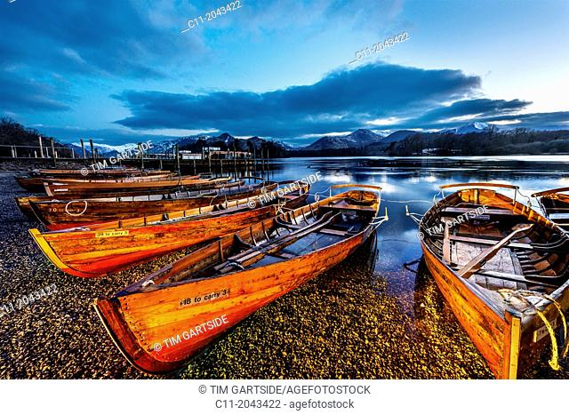rowing boats, keswick,derwent water,lake district,cumbria,england,uk,europe