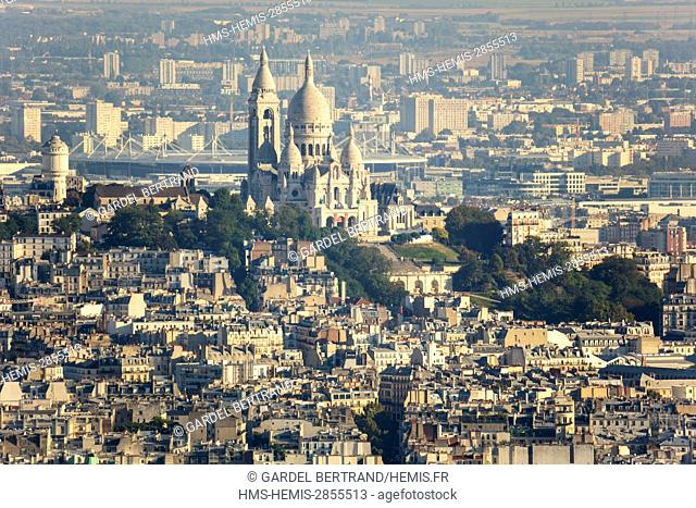 France, Paris, general view with the Basilica of the Sacred Heart on the hill of Montmartre