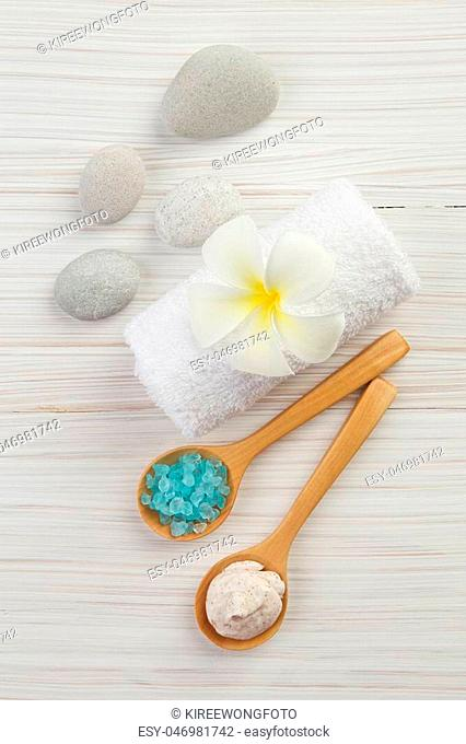 beautiful composition of spa treatment on wooden background