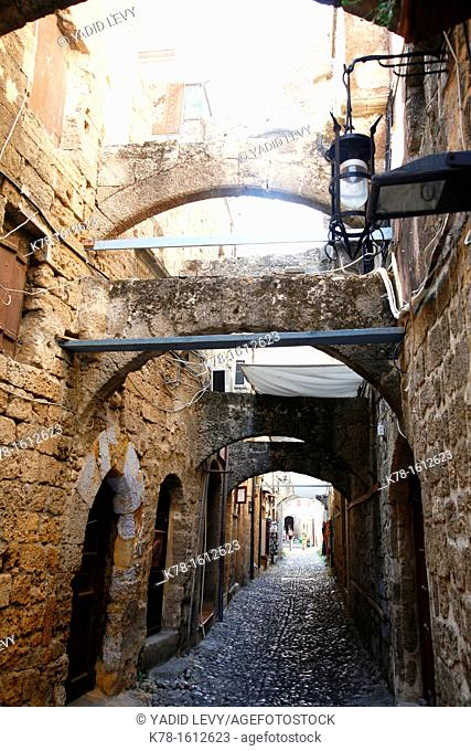 Street in the Rhodes old Town, Rhodes, Greece