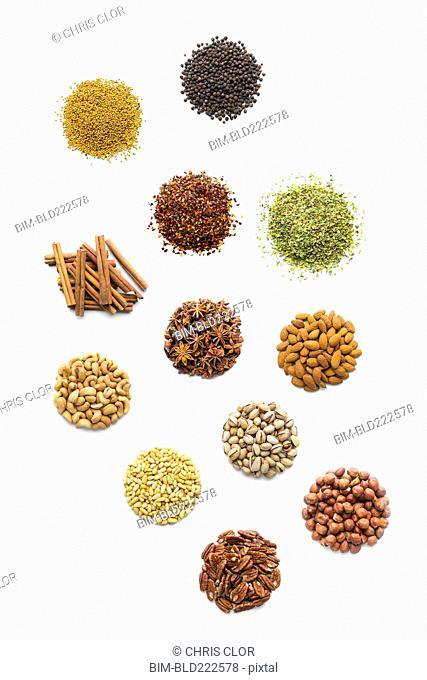 Piles of nuts and seasonings
