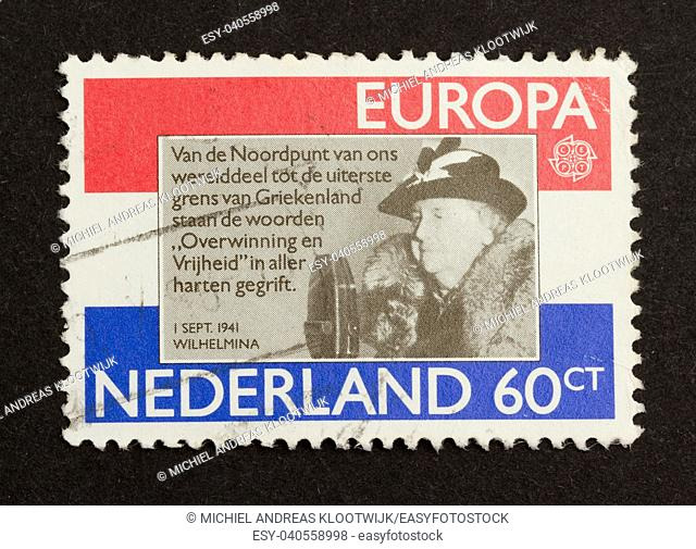 HOLLAND - CIRCA 1980: Stamp printed in the Netherlands shows the queen (Wilhelmina), circa 1980