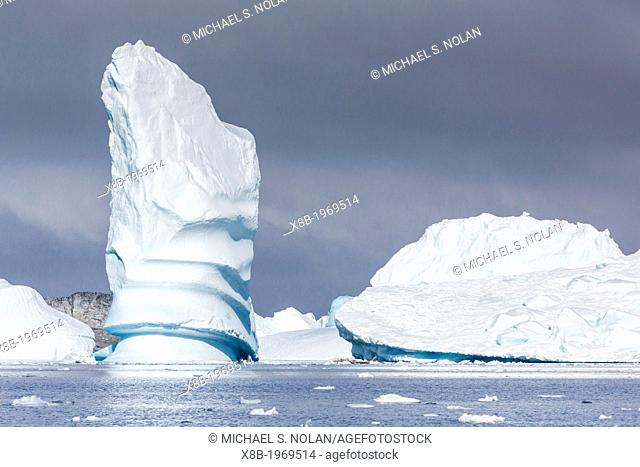 Icebergs near Booth Island, Antarctica, Southern Ocean