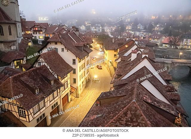 Bern Switzerland-DECEMBER 5, 2015: Night panorama of Bern Christmas time on December 5, 2015 in Bern, Switzerland
