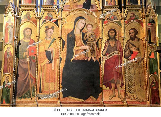 Altarpiece, Madonna and Baby Jesus, Battisterio di San Giovanni, Cathedral of Santa Maria Assunta, Siena Cathedral, Siena, Italy, Europe