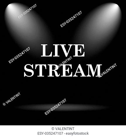 Live stream icon. Internet button on black background