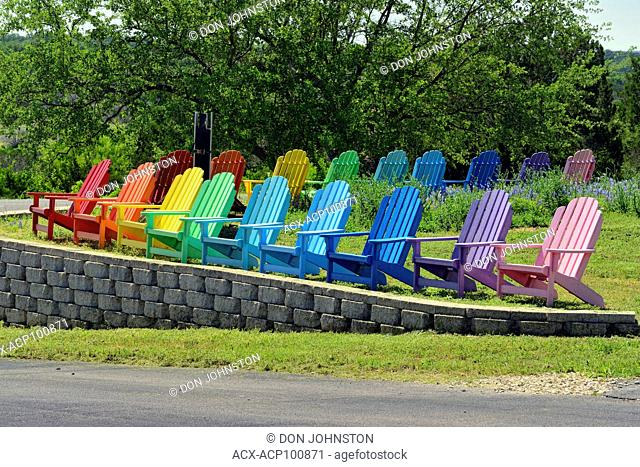 Colourful lounge chairs, Burnet County, Marble Falls, Texas, USA
