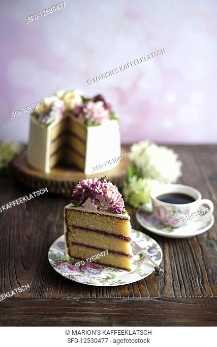 Flower cake with Korean shine buttercream