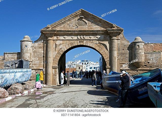 Morocco Atlantic Coast Essaouira 'Porte Maritime' Arched entrance to the harbour