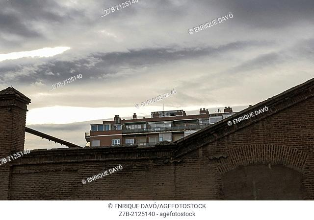 A view of a building in Madrid city, Spain, from a wall