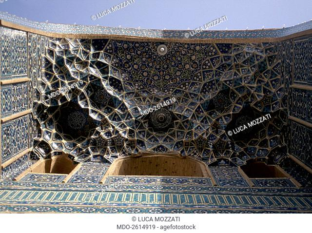 Shah Mosque, 1612-1638, 17th Century, mixed technique. Iran, Isfahan. Whole artwork view. View from below of muqarnas vault of the entrance gate of the Mosque...