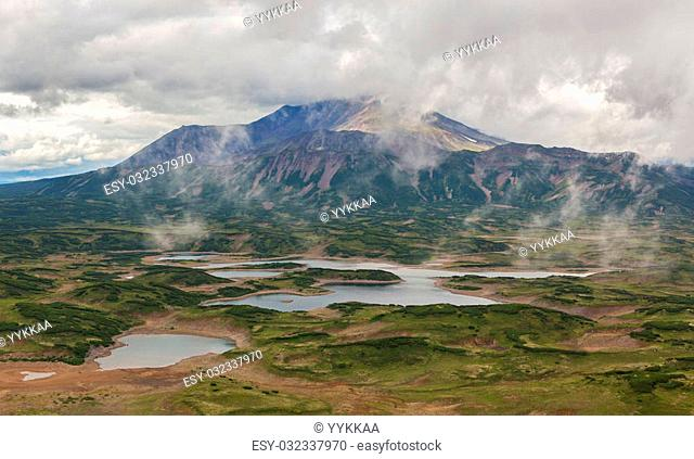 Uzon Caldera in Kronotsky Nature Reserve on Kamchatka Peninsula. View from helicopter