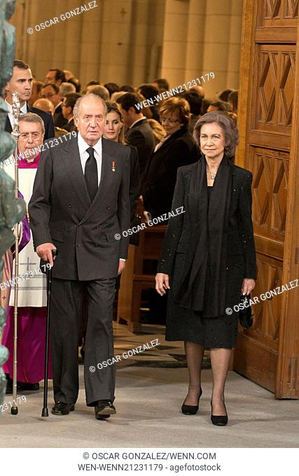 State funeral for former Spanish president Adolfo Suarez held at Almudena Cathedral. Suarez died March 23, aged 81. Featuring: Queen Sofia of Spain