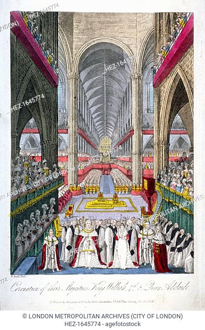 Coronation of William IV and Queen Adelaide's in Westminster Abbey, London, 1831. The king and queen are shown in the foreground with spectators filling the...