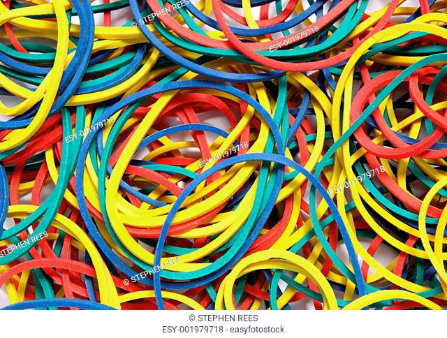 Close up of lots of colorful elastic bands
