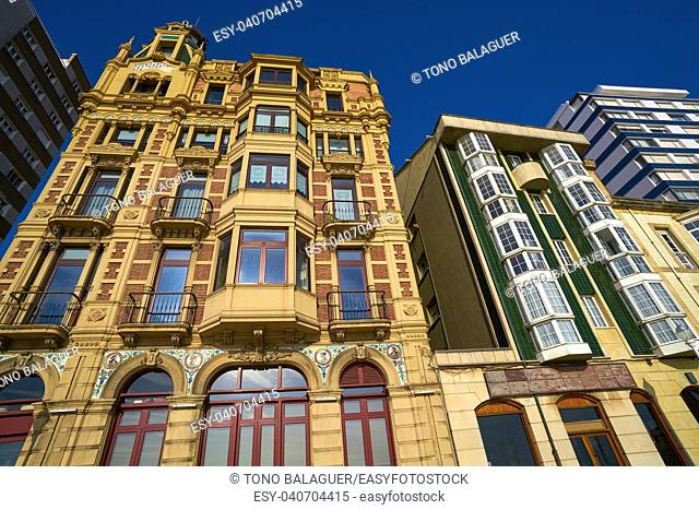 Gijon city facades of Asturias in Spain
