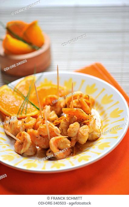 Citrus fruits butter shrimps