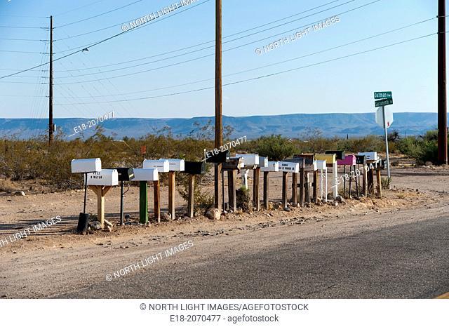 USA, Arizona, Kingman. Mailboxes on historic Route 66