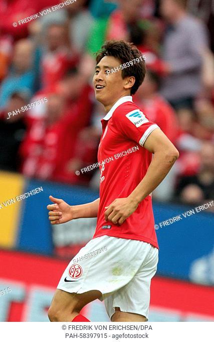 Mainz's Ja-Cheol Koo celebrates during the Bundesliga soccer match 1s FSV Mainz 05 vs 1st FC Koeln in Mainz, Germany, 16 May 2015