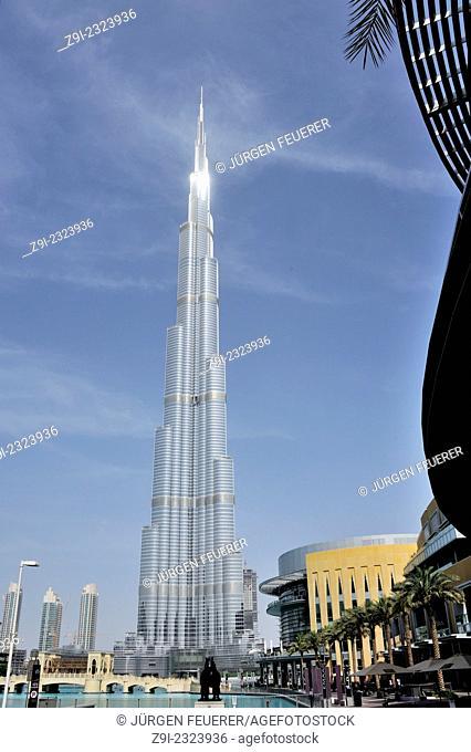 Burj Khalifa in the shiny sun, Burj Park, Dubai, United Arab Emirates