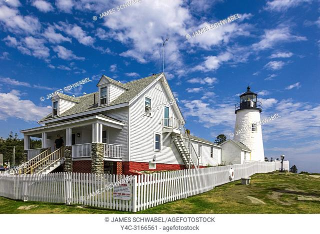 Pemaquid Point Light is a historic U. S. lighthouse located in Bristol, Lincoln County, Maine in Pemaquid Point Light Park and includes the Fishermen's Museum