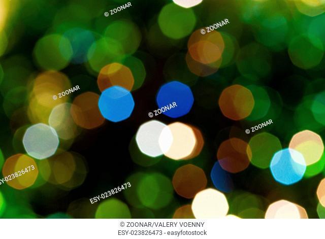 dark green blurred shimmering Christmas lights