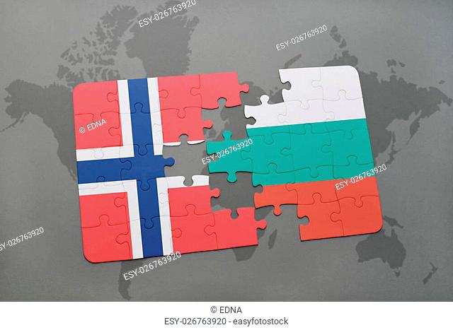 puzzle with the national flag of norway and bulgaria on a world map background. 3D illustration