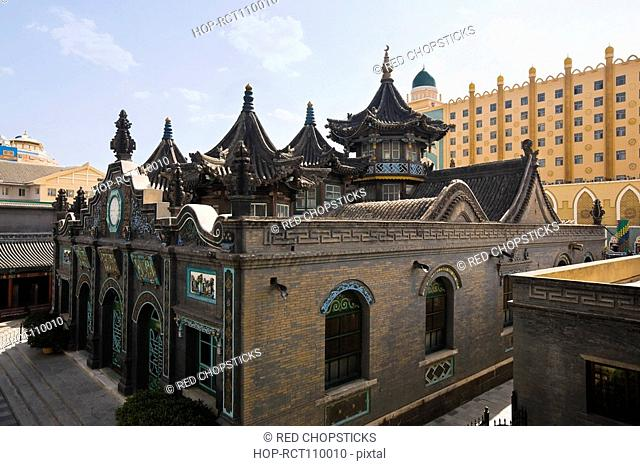 High angle view of a mosque, Great Mosque, Hohhot, Inner Mongolia, China