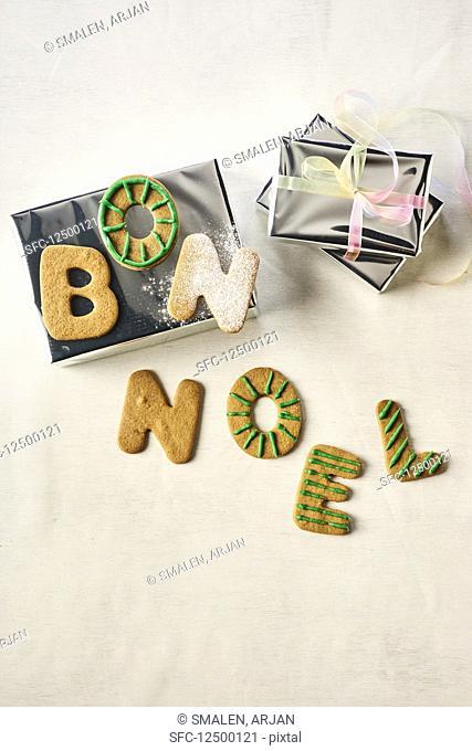 Letter biscuits spelling 'Bon Noel'