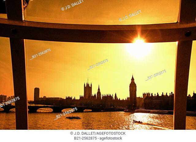 Houses of Parliament and Big Ben tower on the Thames river bank, London, England, UK