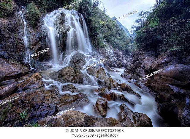 Cat Cat waterfall, Cat Cat village, Lao Chai, Sapa, Vietnam, Asia
