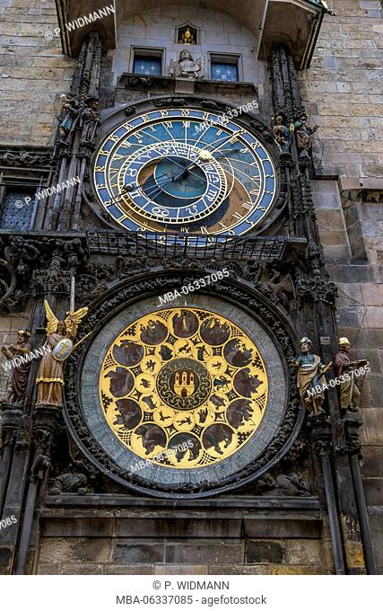 Czech Republic, Prague, astronomical clock in the old city hall